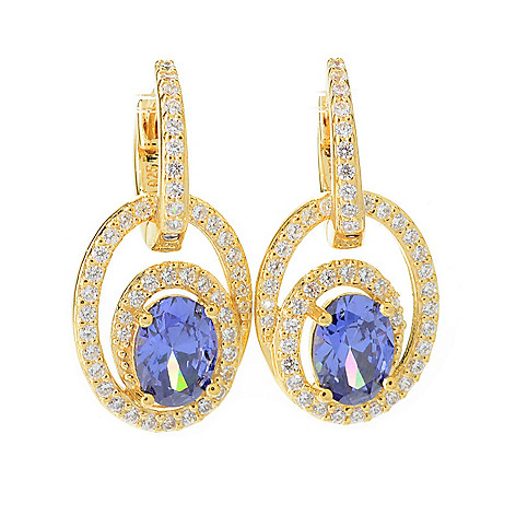 140-691 - Brilliante® 3.38 DEW 1'' Simulated Gem & Simulated Diamond Oval Drop Earrings