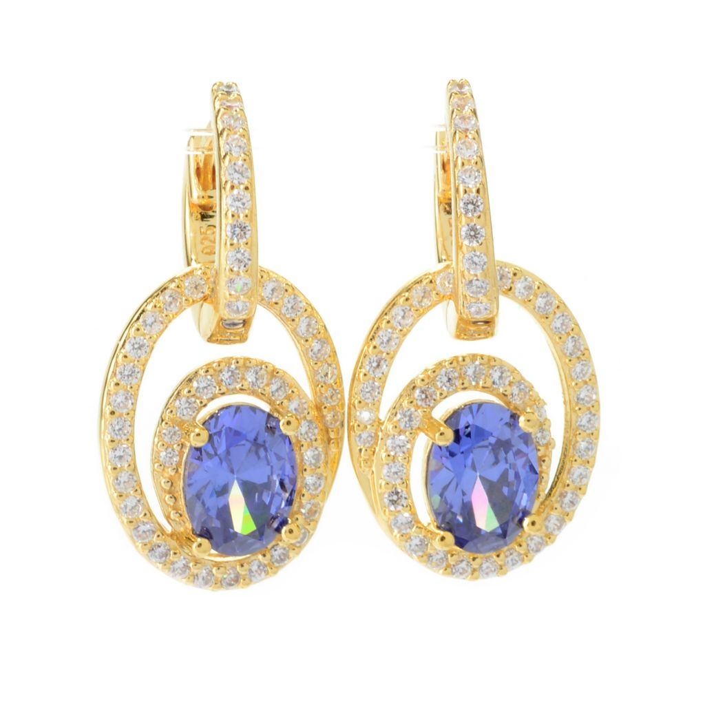 "140-691 - Brilliante® 3.38 DEW 1"" Simulated Gem & Simulated Diamond Oval Drop Earrings"