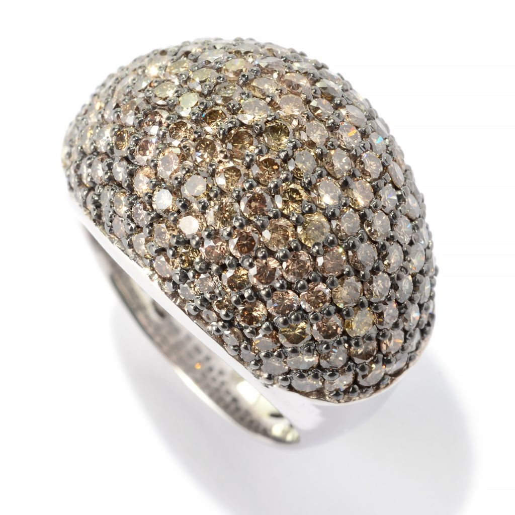 140-692 - Diamond Treasures Sterling Silver 3.73ctw Fancy Color Diamond Pave Dome Ring