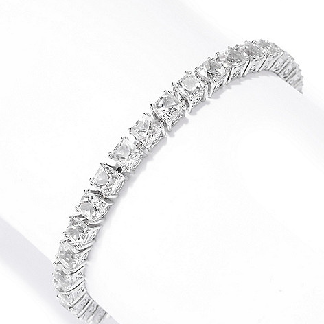 140-694 - Gem Treasures® Sterling Silver 5mm Cushion Cut Gemstone Line Bracelet