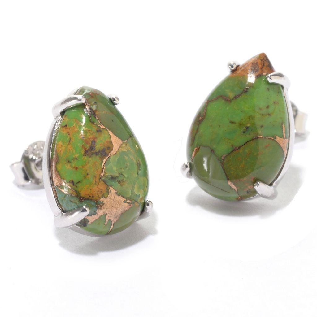 140-695 - Gem Insider Sterling Silver Kingman Mohave Turquoise or Apple Coral Earrings