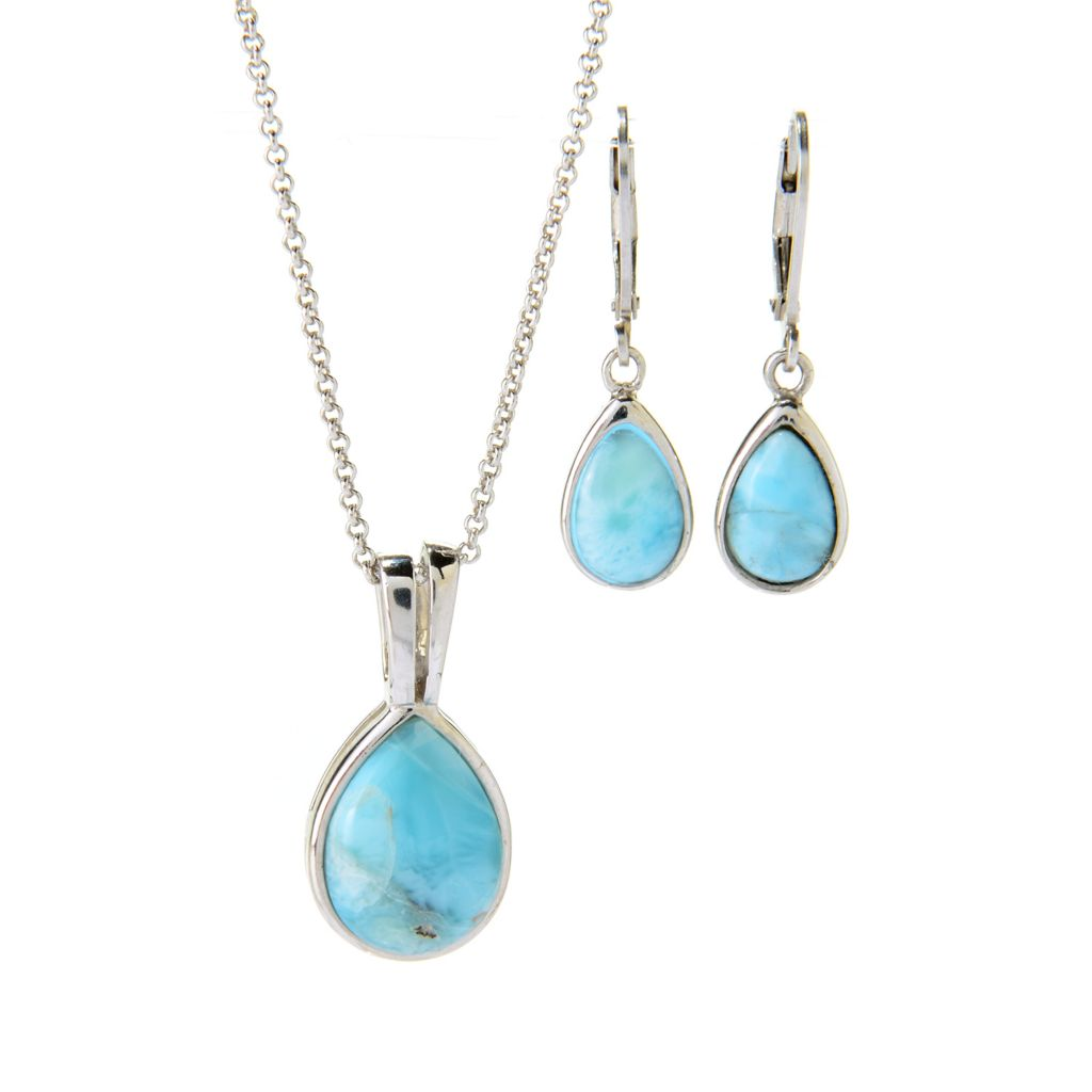 140-697 - Gem Insider Sterling Silver Pear Shaped Larimar Pendant & Drop Earrings Set