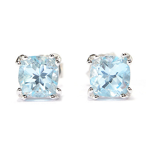 140-698 - Gem Treasures® Sterling Silver Cushion Shaped Gemstone Stud Earrings