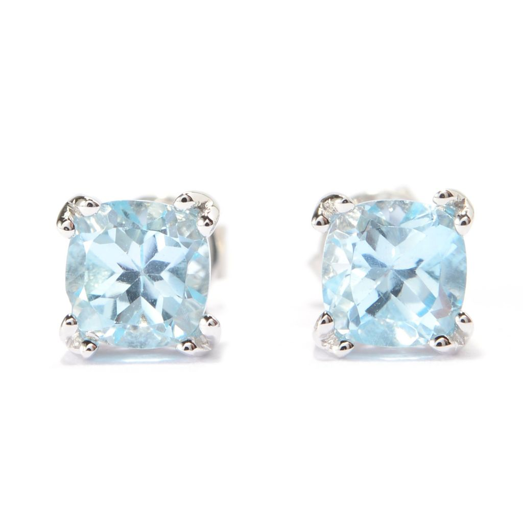 140-698 - Gem Treasures Sterling Silver Cushion Shaped Gemstone Stud Earrings