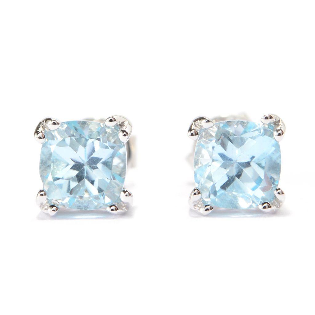 140-698 - Gem Treasures Sterling Silver Cushion Shaped Gemstone Stud Earrings