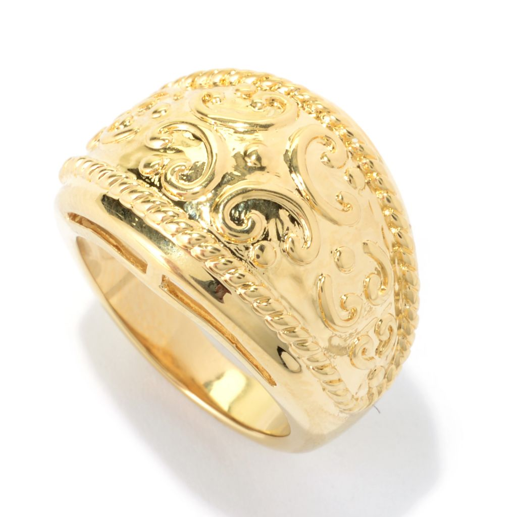 140-703 - Dettaglio™ 18K Gold Embraced™ Polished Swirl & Beadwork Band Ring