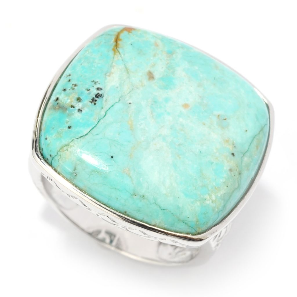 140-729 - Gem Insider Sterling Silver 20 x 19mm Cushion Shaped Nevada #8 Turquoise Ring