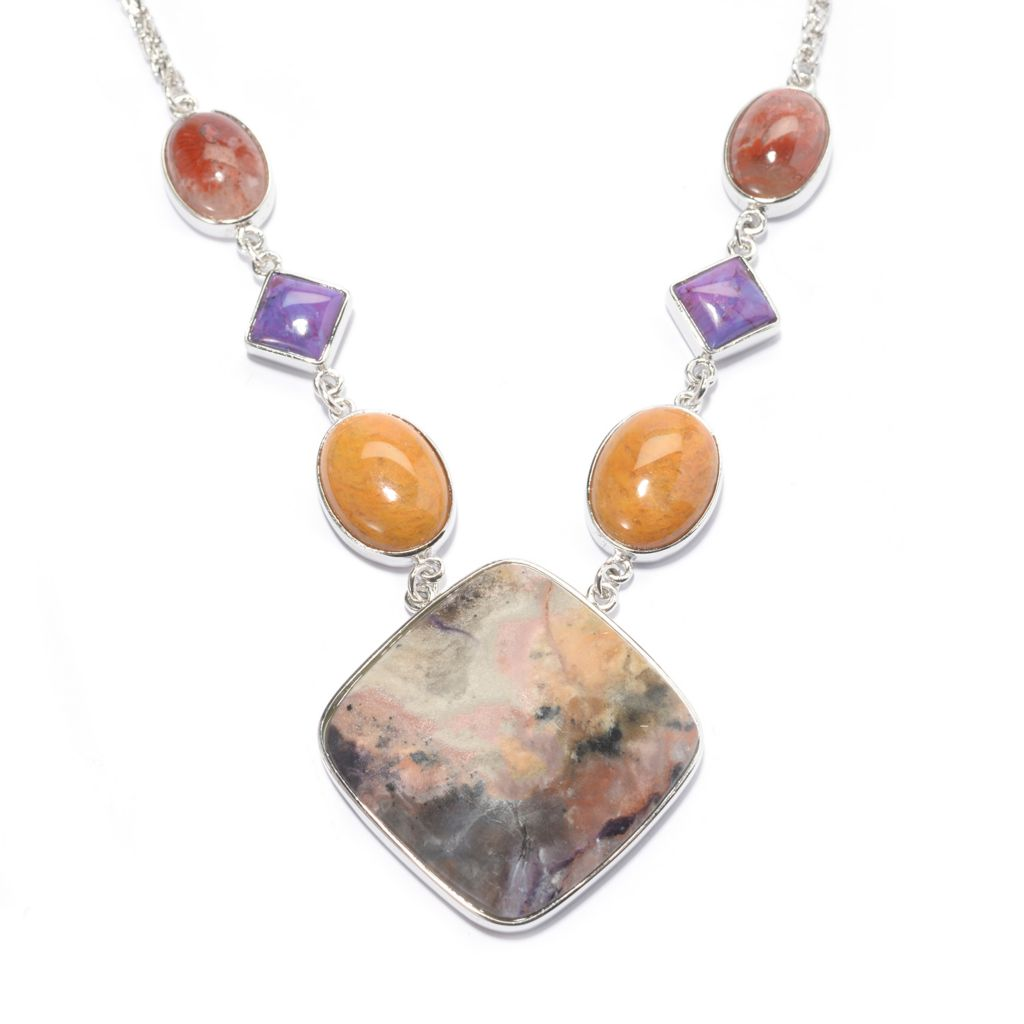 "140-734 - Gem Insider Sterling Silver 18"" 30mm Utah Bertrandite & Multi Gem Necklace"