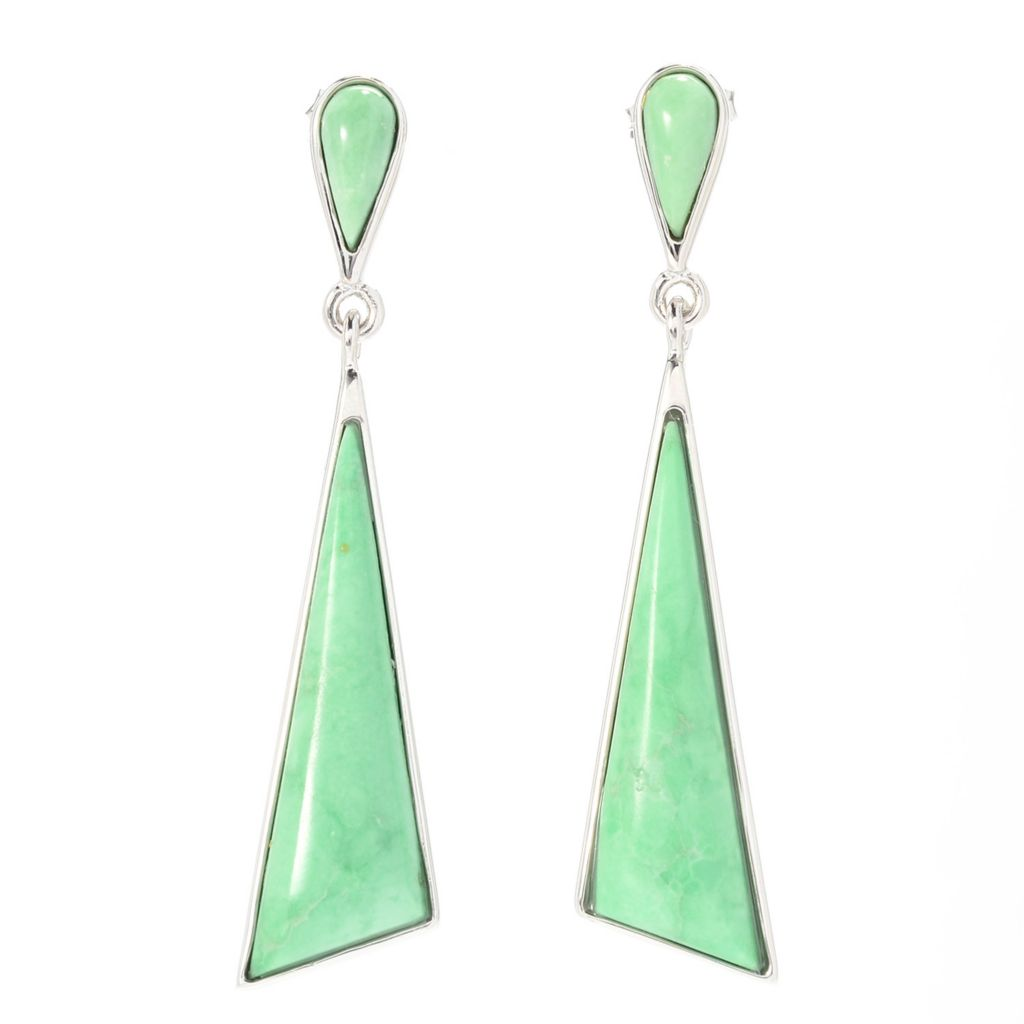 "140-737 - Gem Insider Sterling Silver 1.75"" 27 x 9mm Utah Variscite Drop Earrings"