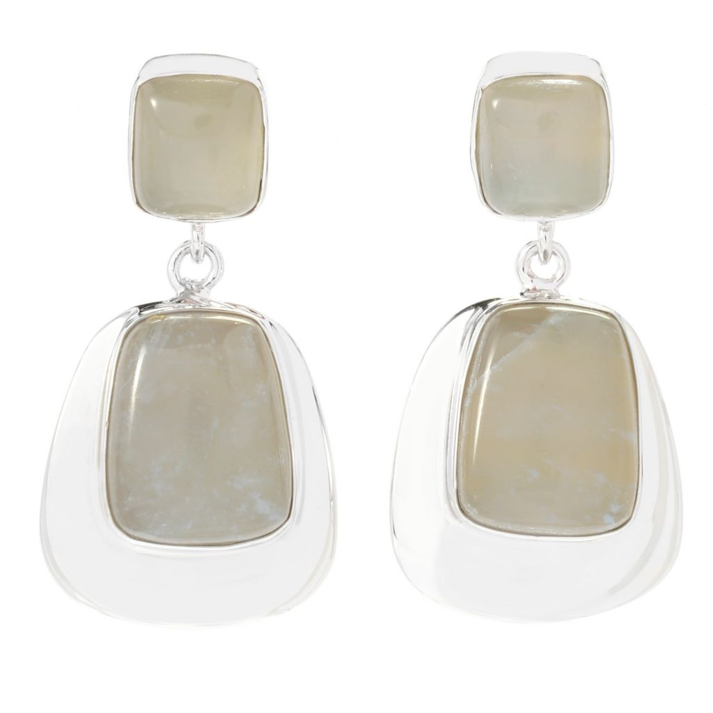 "140-739 - Gem Insider Sterling Silver 1.25"" 13 x 10mm Oregon Chalcedony Drop Earrings"