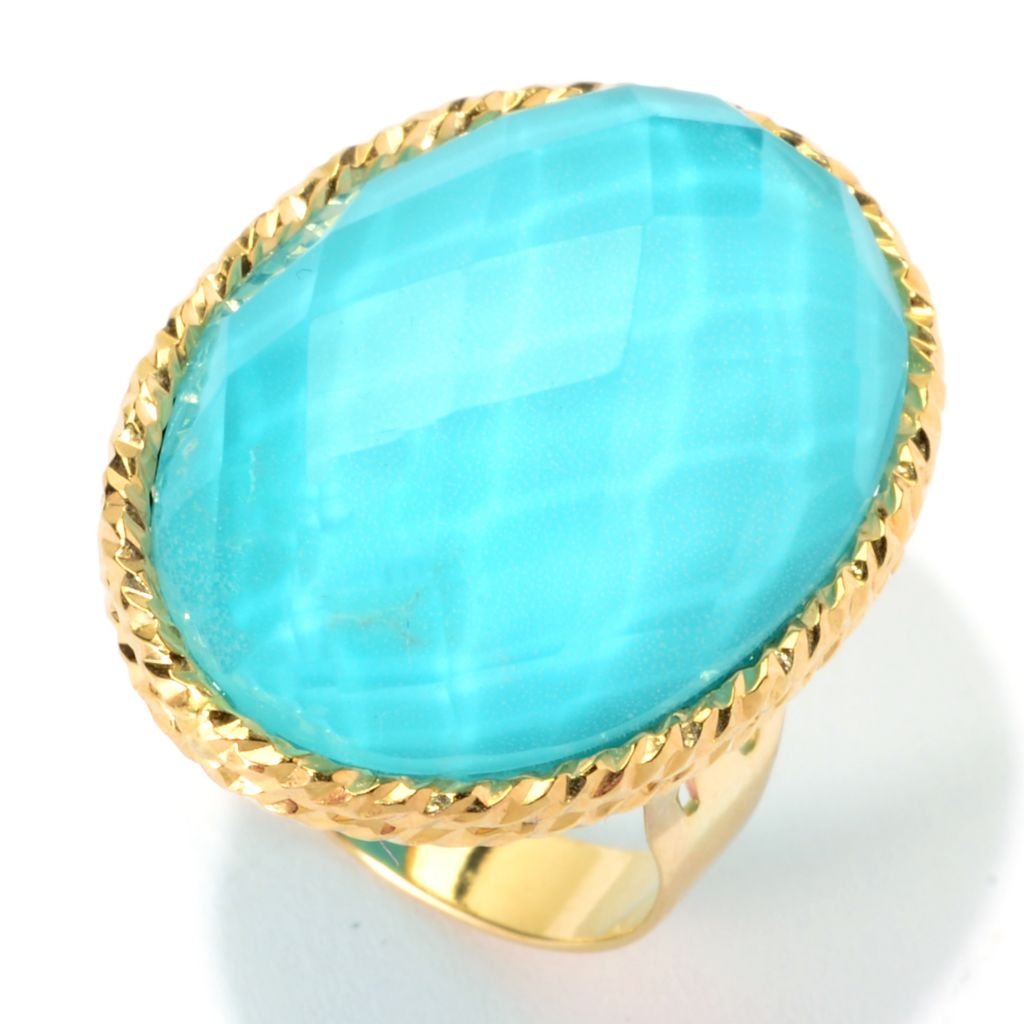 140-740 - Signature Luxe™ 14K Gold 25 x 18mm Oval Turquoise & Crystal Quartz Doublet Ring