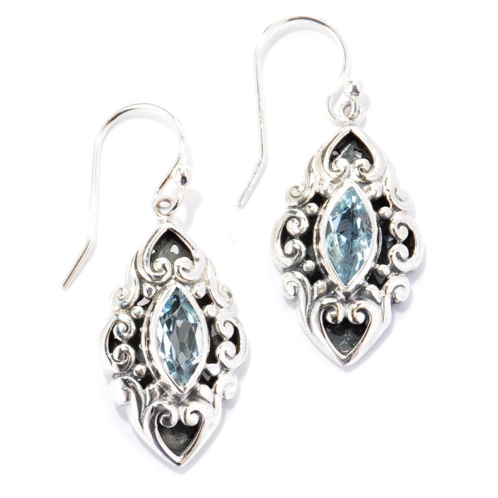 "140-744 - Artisan Silver by Samuel B. 1.5"" Marquise Gemstone Scroll Drop Earrings"