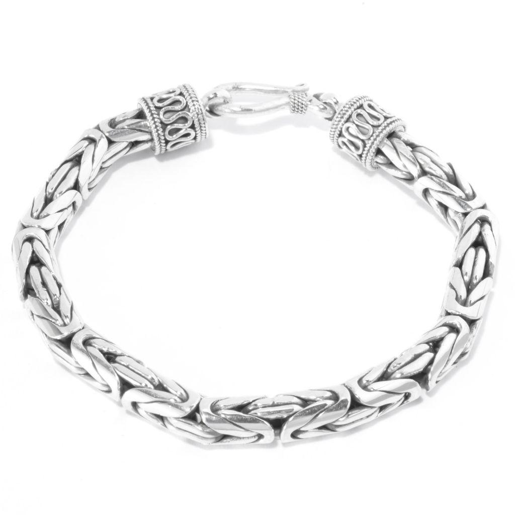 140-748 - Artisan Silver by Samuel B. Textured & Oxidized Byzantine Bracelet