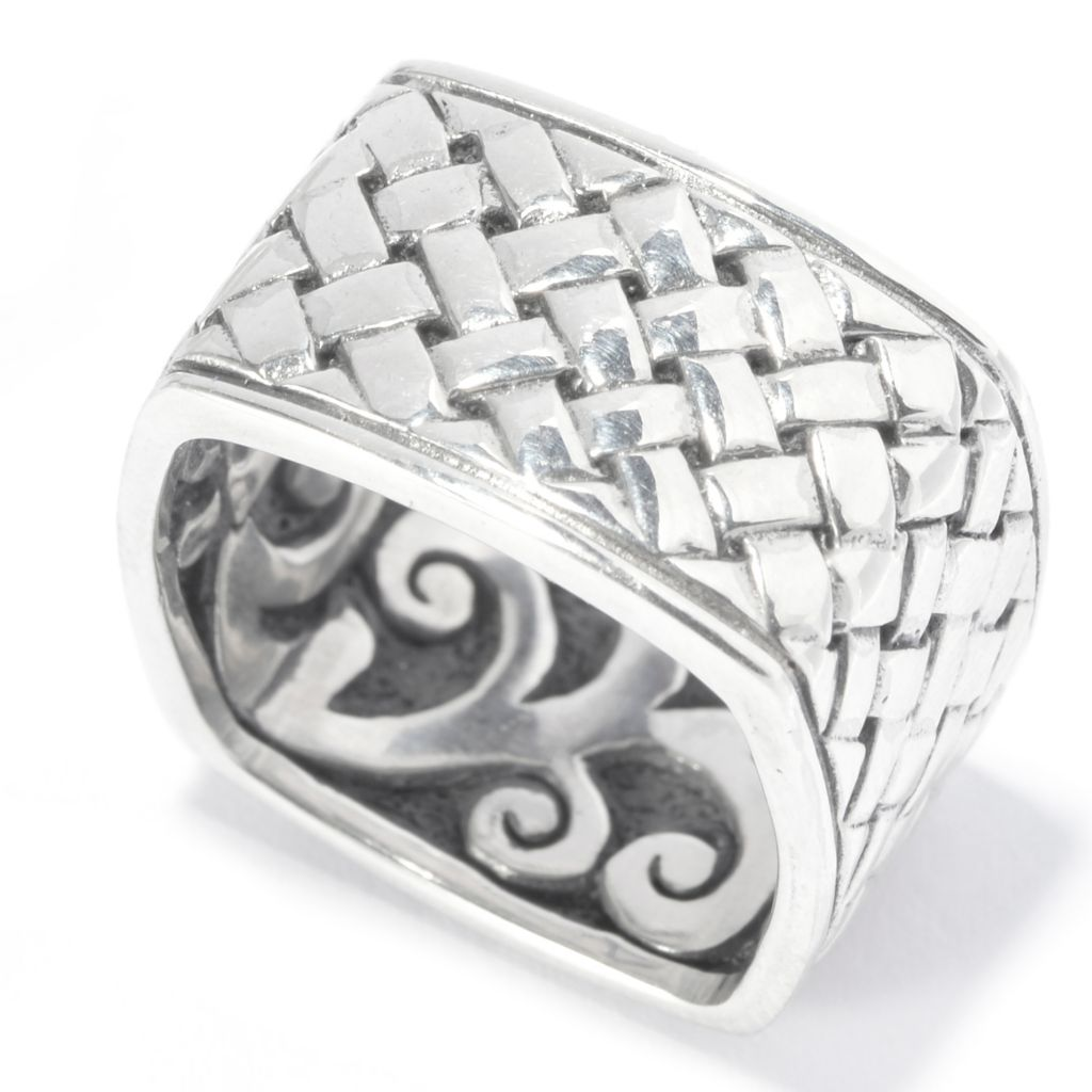 140-752 - Artisan Silver by Samuel B. Scrollwork or Woven Textured Square Band Ring