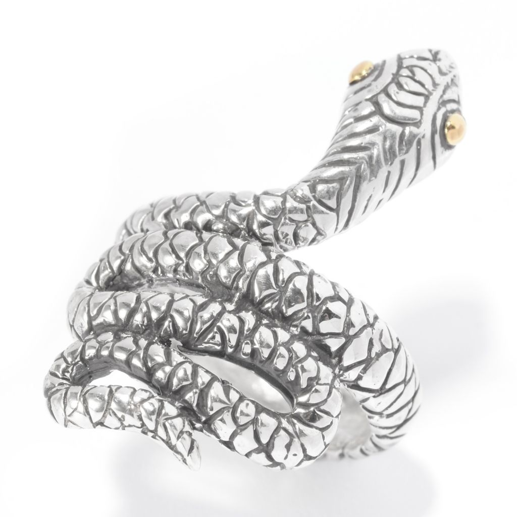 140-753 - Artisan Silver by Samuel B. Two-tone Textured Animal Wrap Ring