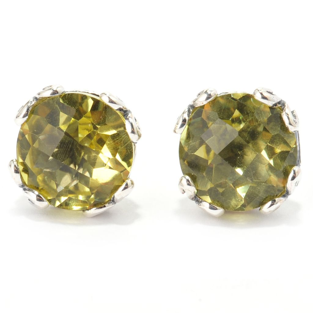 140-758 - Artisan Silver by Samuel B. 4.30ctw Checkerboard Cut Round Gemstone Stud Earrings