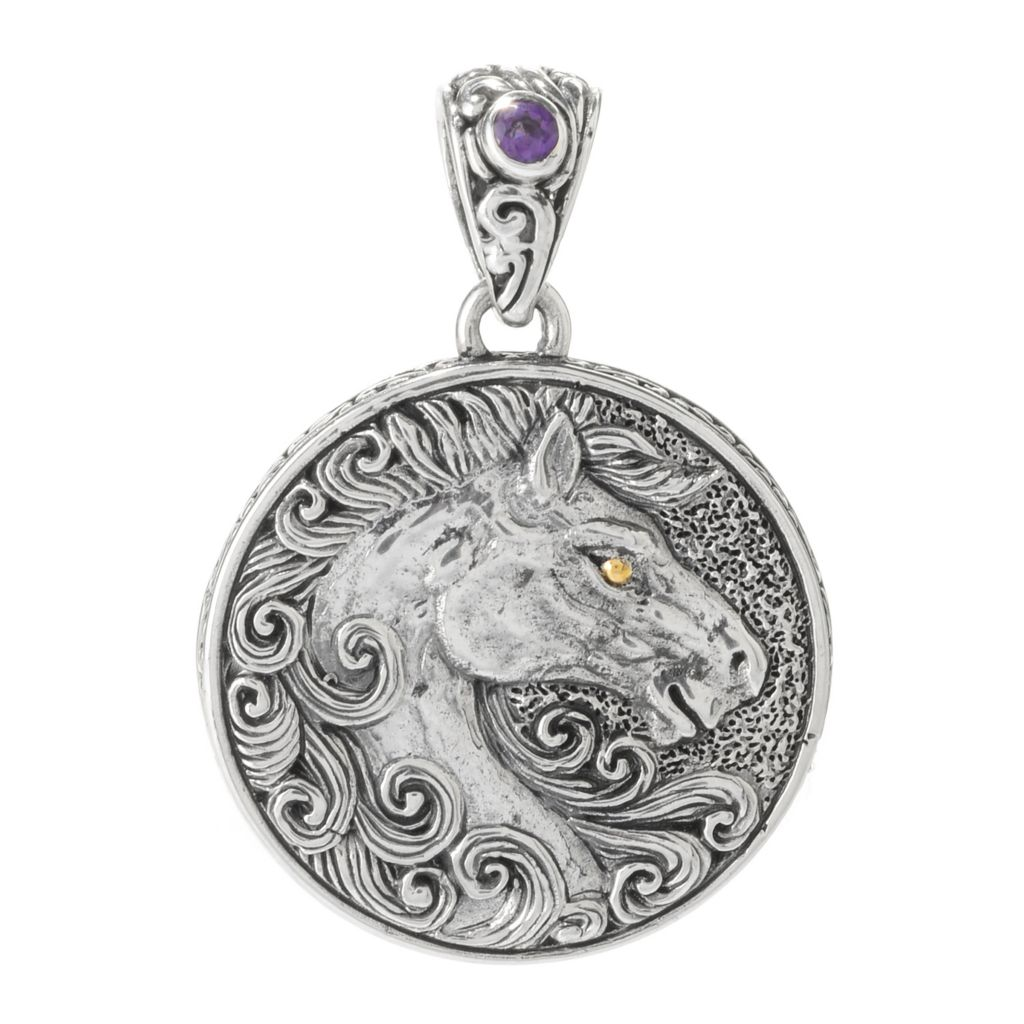 140-759 - Artisan Silver by Samuel B. Two-tone Gemstone Horse Medallion Pendant