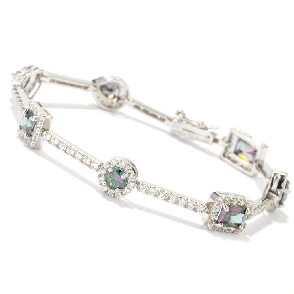 140-760 - Brilliante® Platinum Embraced™ Simulated Gem & Simulated Diamond Link Bracelet