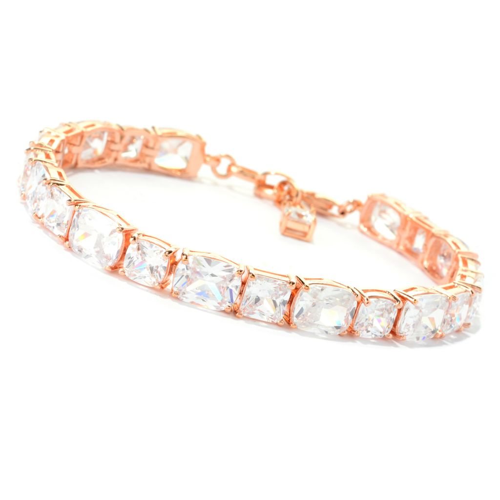 "140-761 - Brilliante® 18K Rose Gold Embraced™ 7"" 40.46 DEW Simulated Diamond Tennis Bracelet"