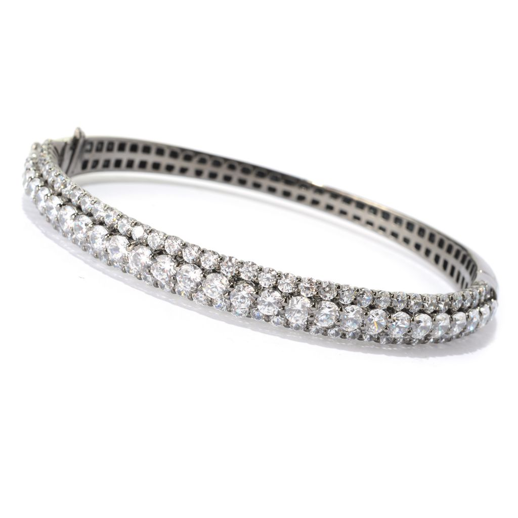 "140-762 - Brilliante® Sterling Silver 7"" 8.46 DEW Simulated Diamond Three-Row Bracelet"