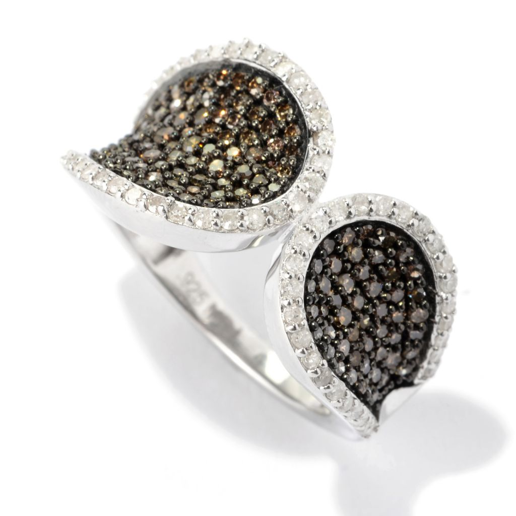 140-764 - Diamond Treasures Sterling Silver 1.00ctw White & Champagne Diamond Teardrop Duo Ring