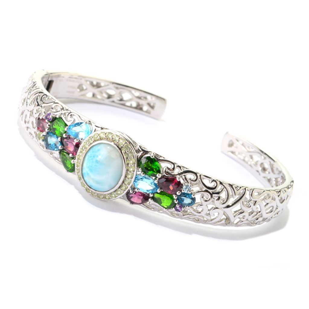 140-766 - Gem Insider Sterling Silver 12 x 10 Larimar & Multi Gemstone Cuff Bracelet