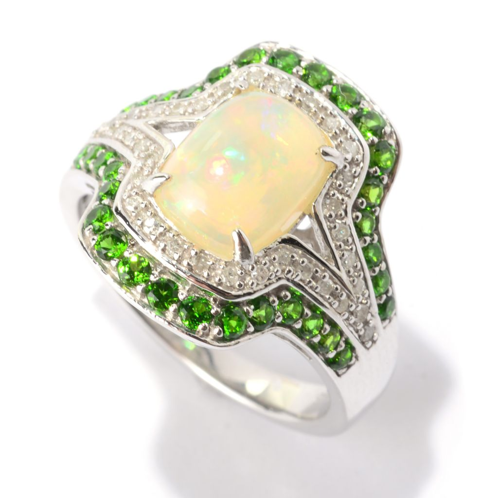 140-767 - Gem Treasures Sterling Silver 9 x 7mm Opal, Chrome Diopside & Diamond Ring