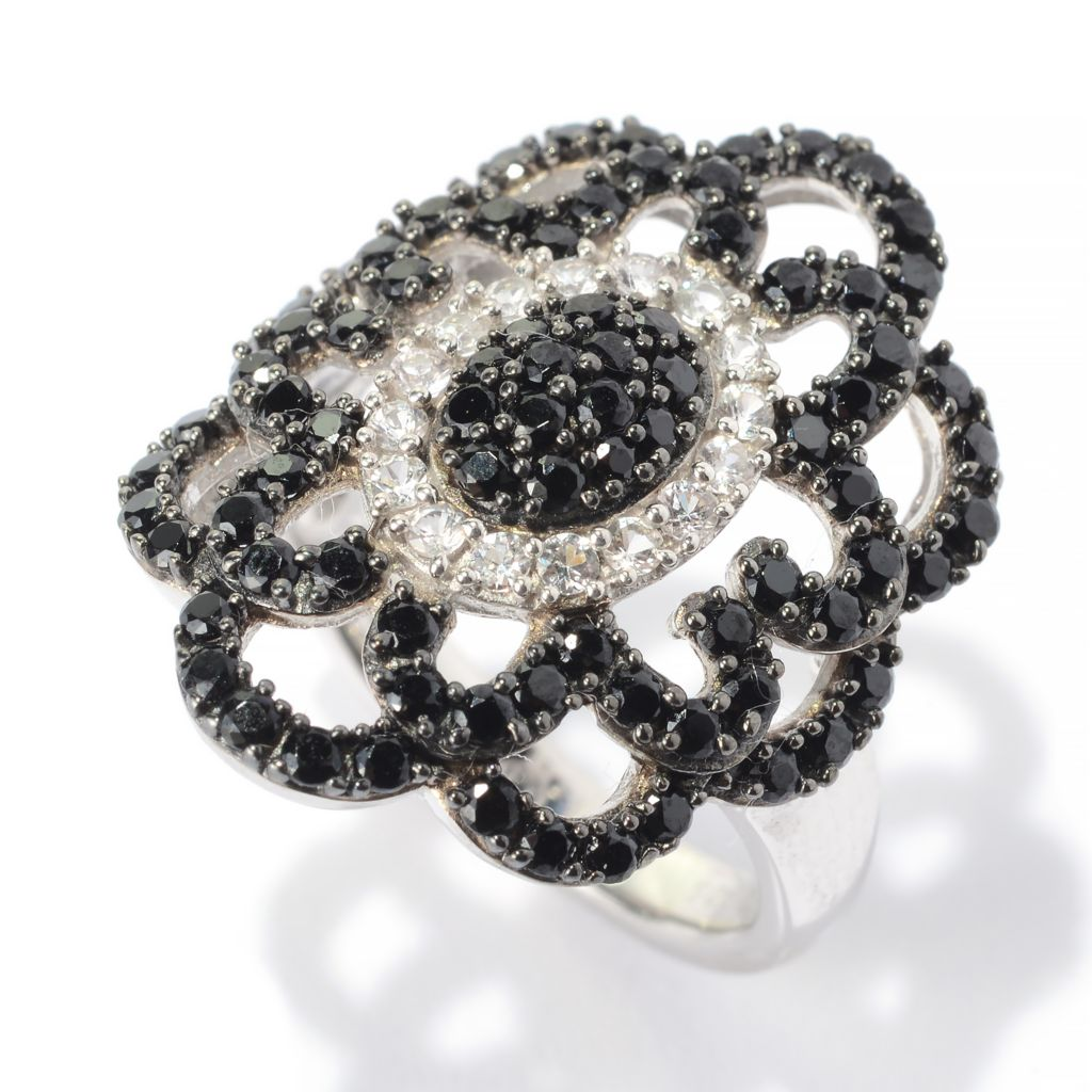140-769 - Gem Treasures Sterling Silver 1.27ctw Black Spinel & White Sapphire Ring