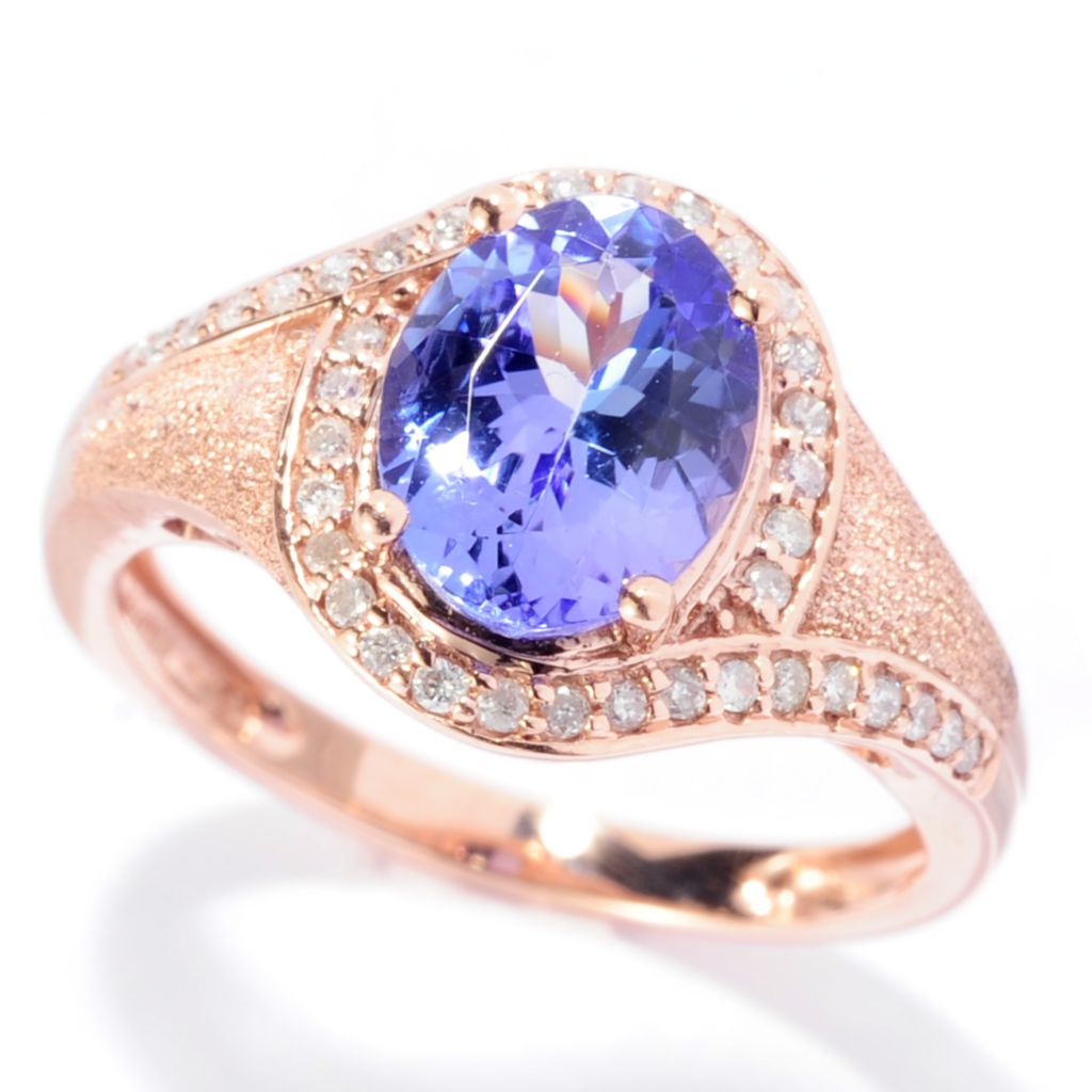 140-771 - Gem Treasures 14K Rose Gold 1.93ctw Oval Tanzanite & Diamond Halo Ring