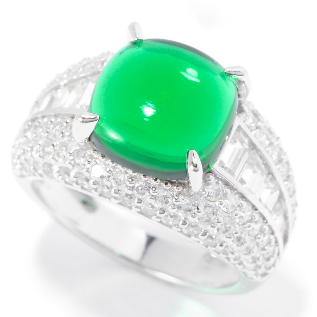 140-772 - Brilliante® Platinum Embraced™ 10 x 4mm Simulated Chrome Diopside Ring