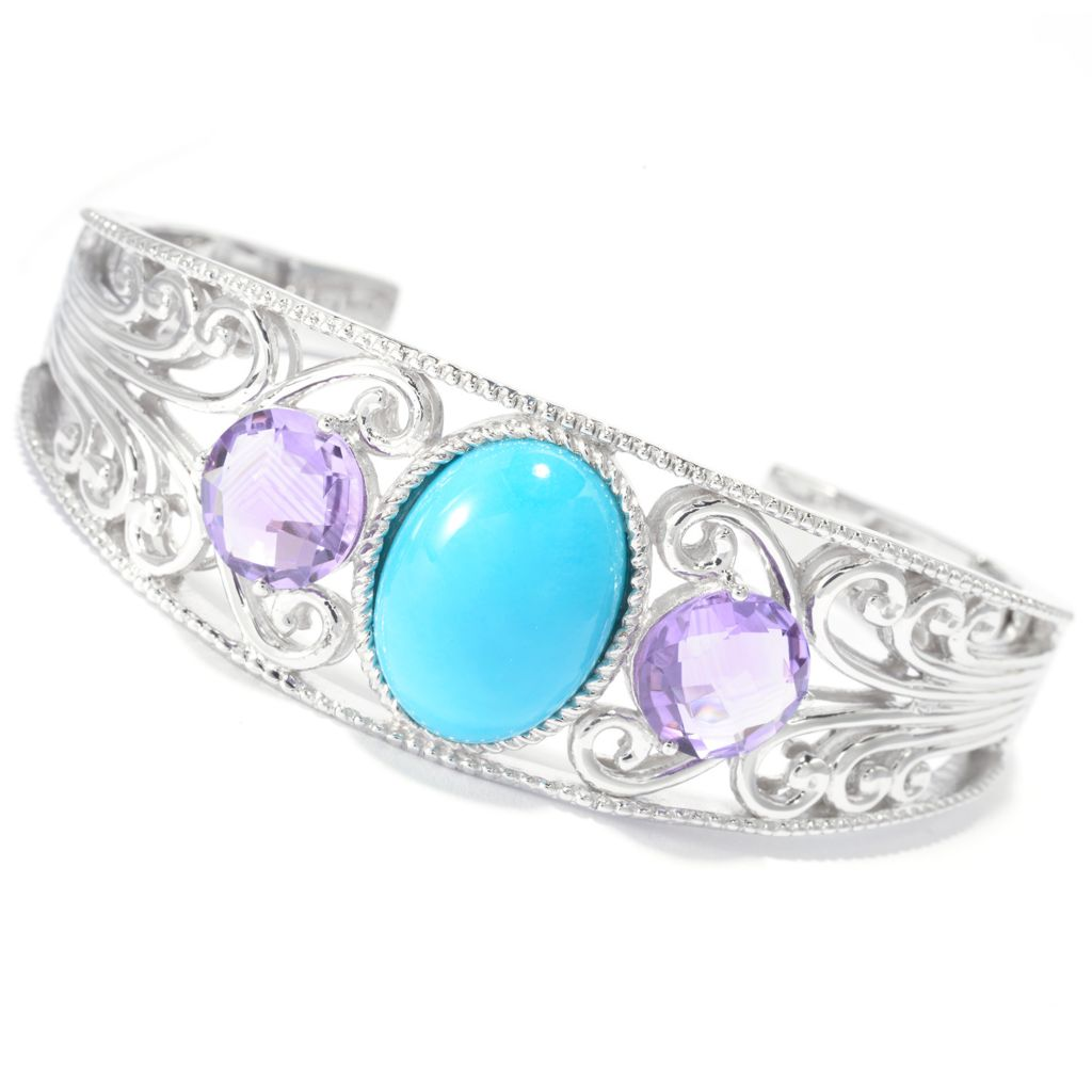 140-773 - Gem Insider Sterling Silver Sleeping Beauty Turquoise & Gem Cuff Bracelet