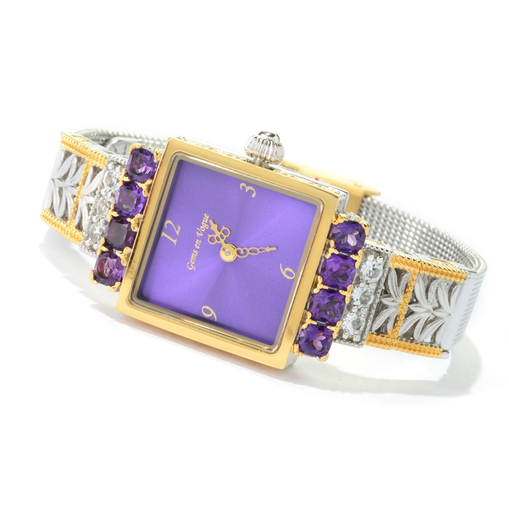 140-774 - Gems en Vogue Tanzanian Color Shift Amethyst & White Topaz Watch