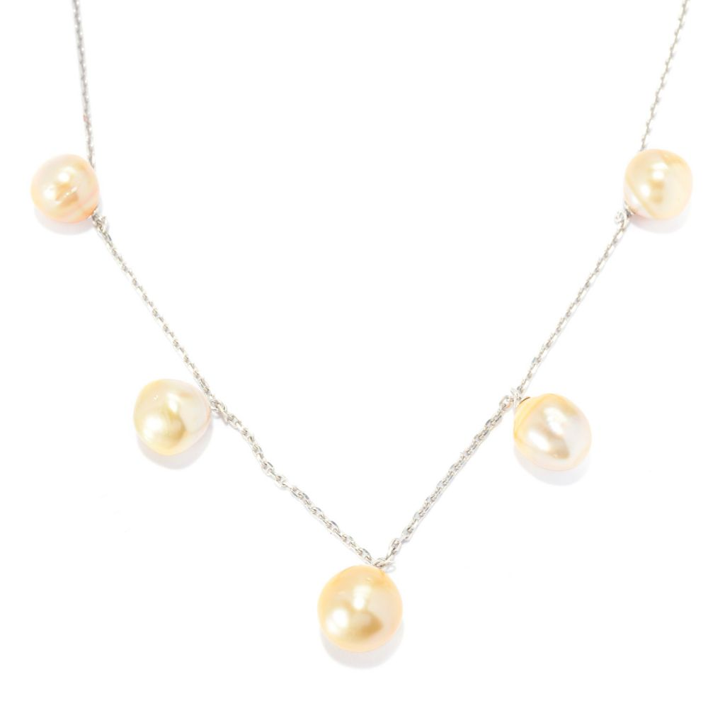 "140-775 - Sterling Silver 18"" 10-12mm Golden South Sea Cultured Pearl Necklace"