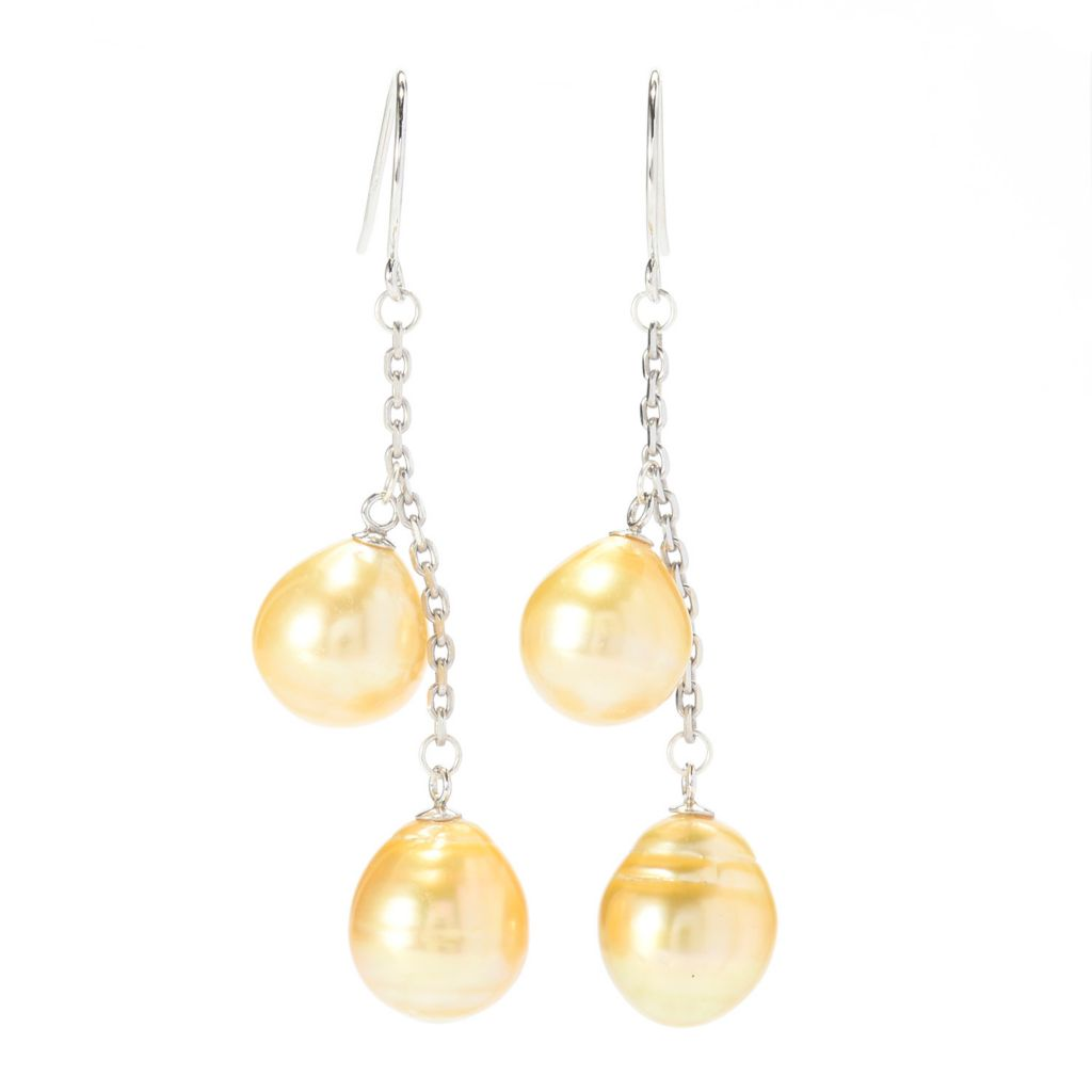 "140-776 - Sterling Silver 2"" 10-11mm Golden South Sea Cultured Pearl Drop Earrings"