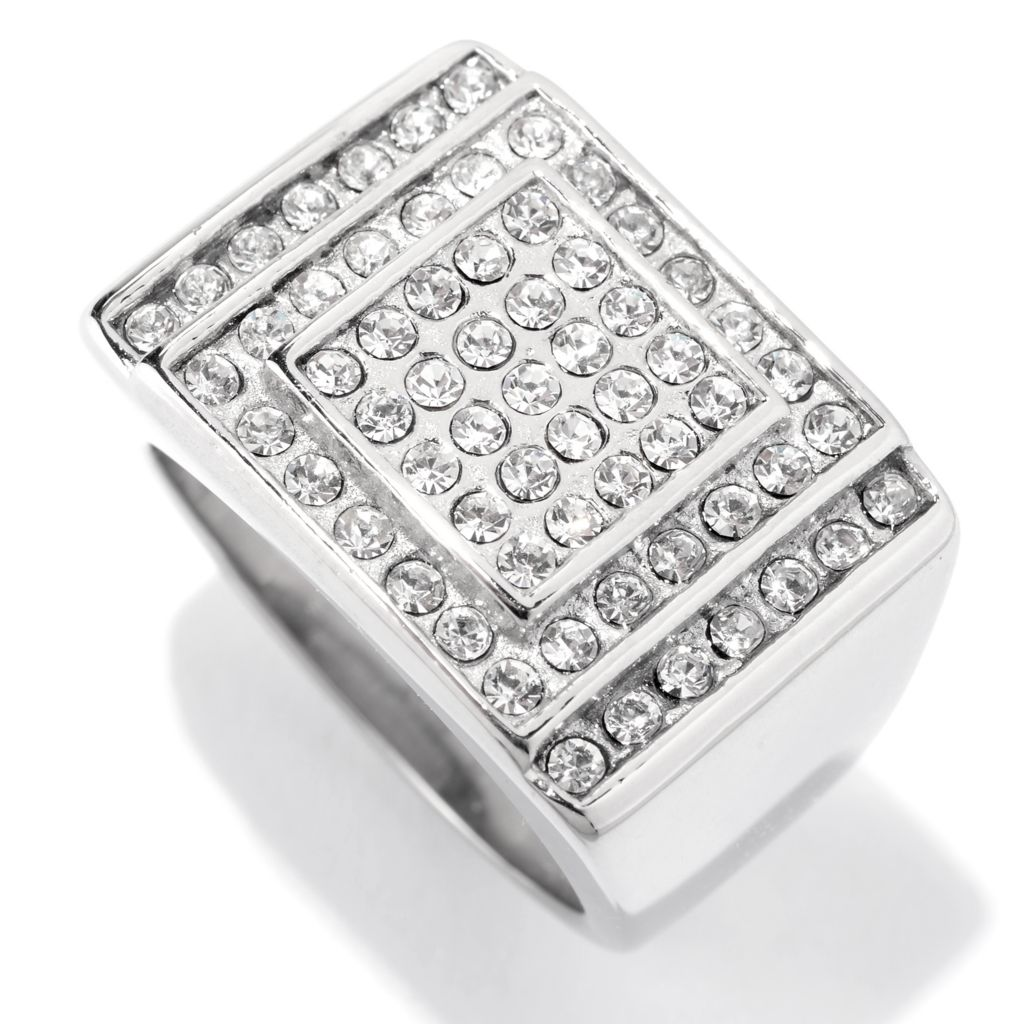 140-778 - Steel Impact™ Men's Stainless Steel Crystal Rectangular Top Three-Tier Ring