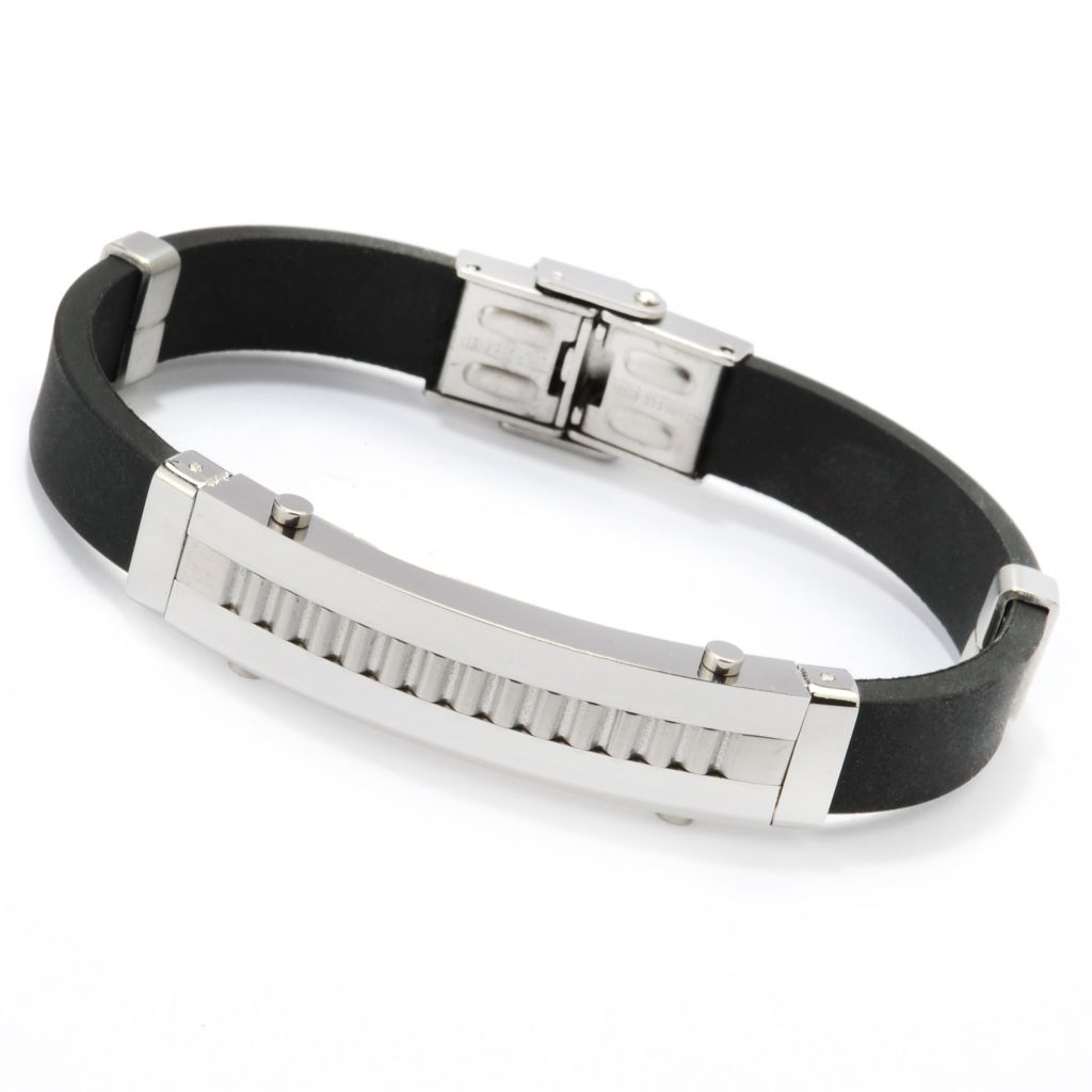 140-780 - Steel Impact™ Men's Stainless Steel Textured & Polished Rubber Bracelet