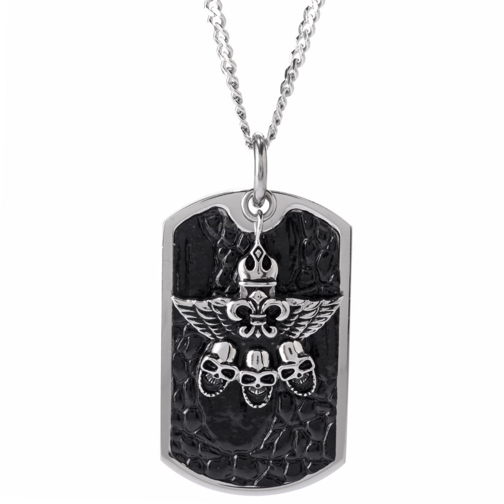 140-782 - Men's Stainless Steel & Leather Skull & Wing Tag Pendant w/ Chain