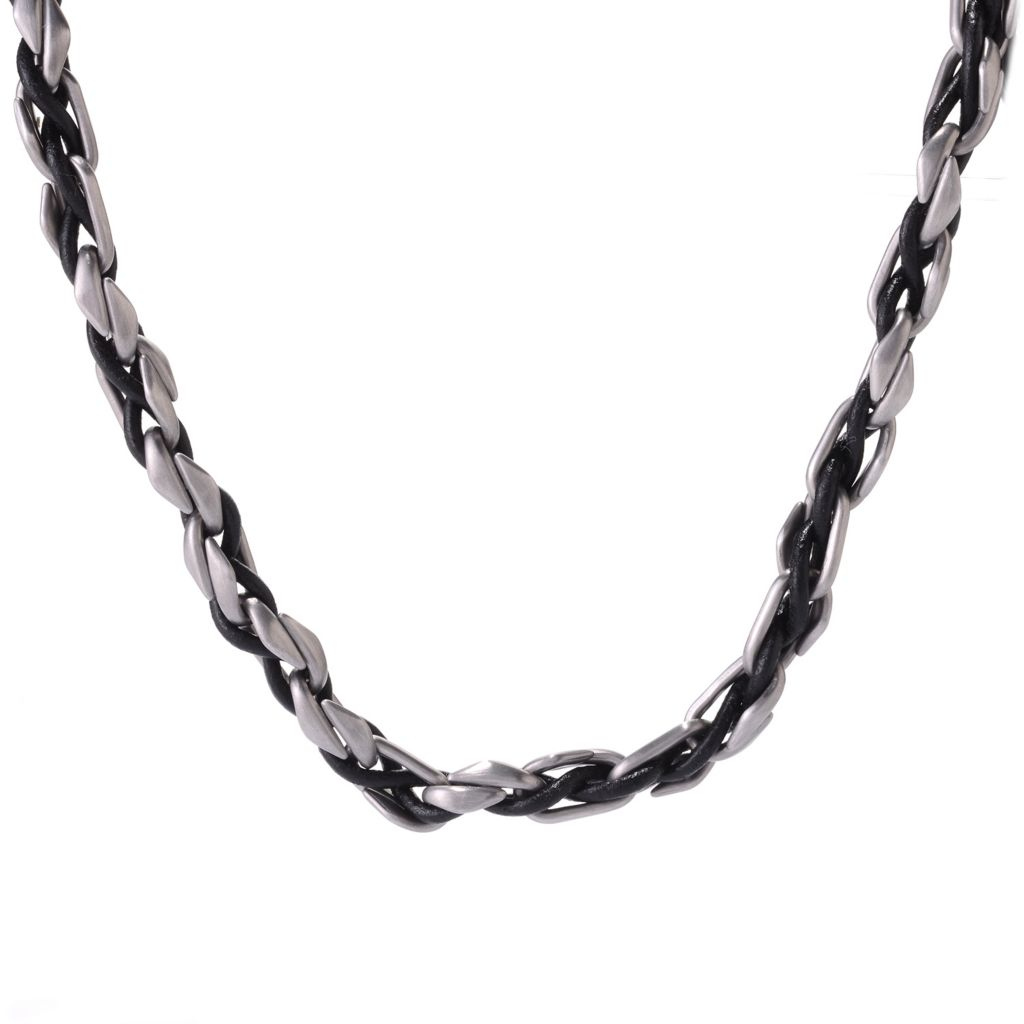 "140-784 - Steel Impact™ Men's Stainless Steel & Leather 21.5"" Woven Cord Link Necklace"