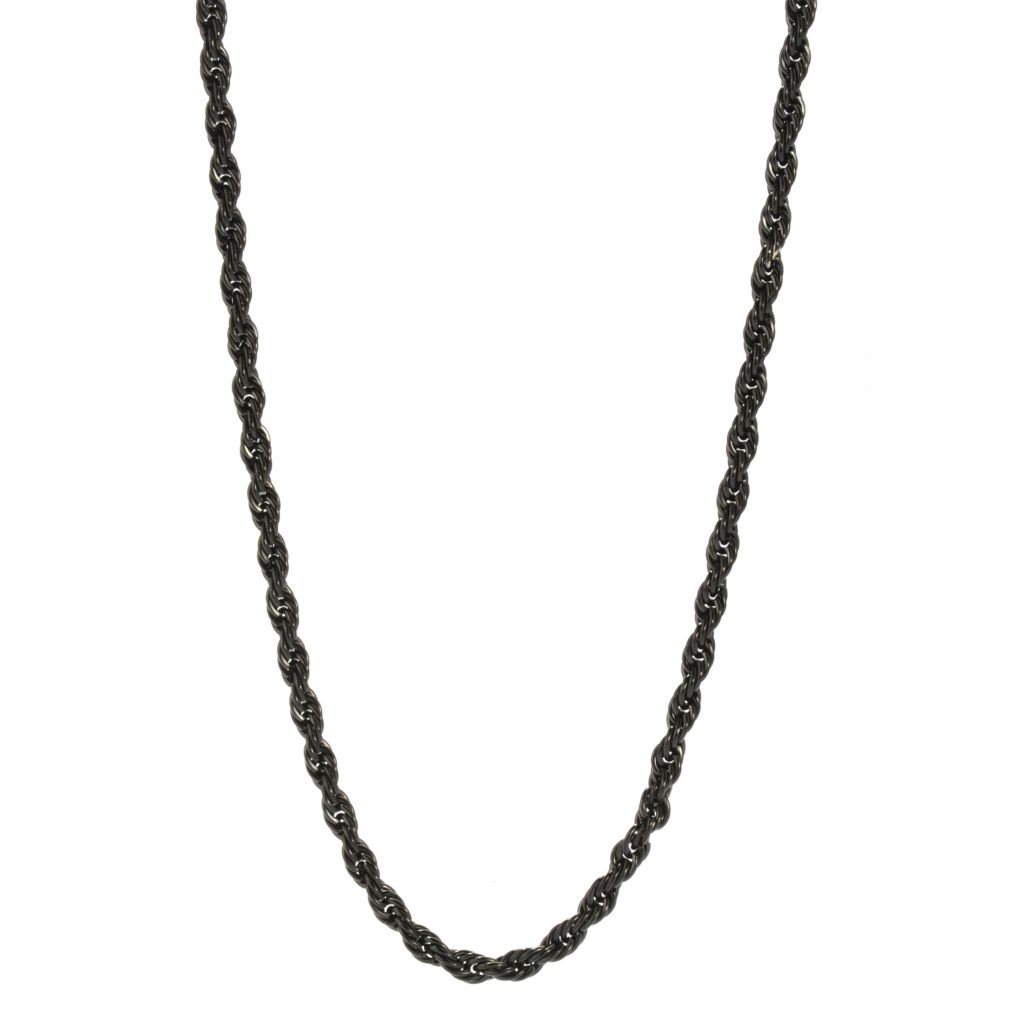 "140-788 - Steel Impact™ Men's Black Stainless Steel 24"" Rope Link Necklace"