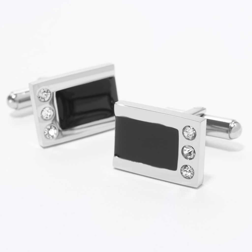 140-791 - Steel Impact™ Men's Stainless Steel & Enamel Rectangular Crystal Cufflinks