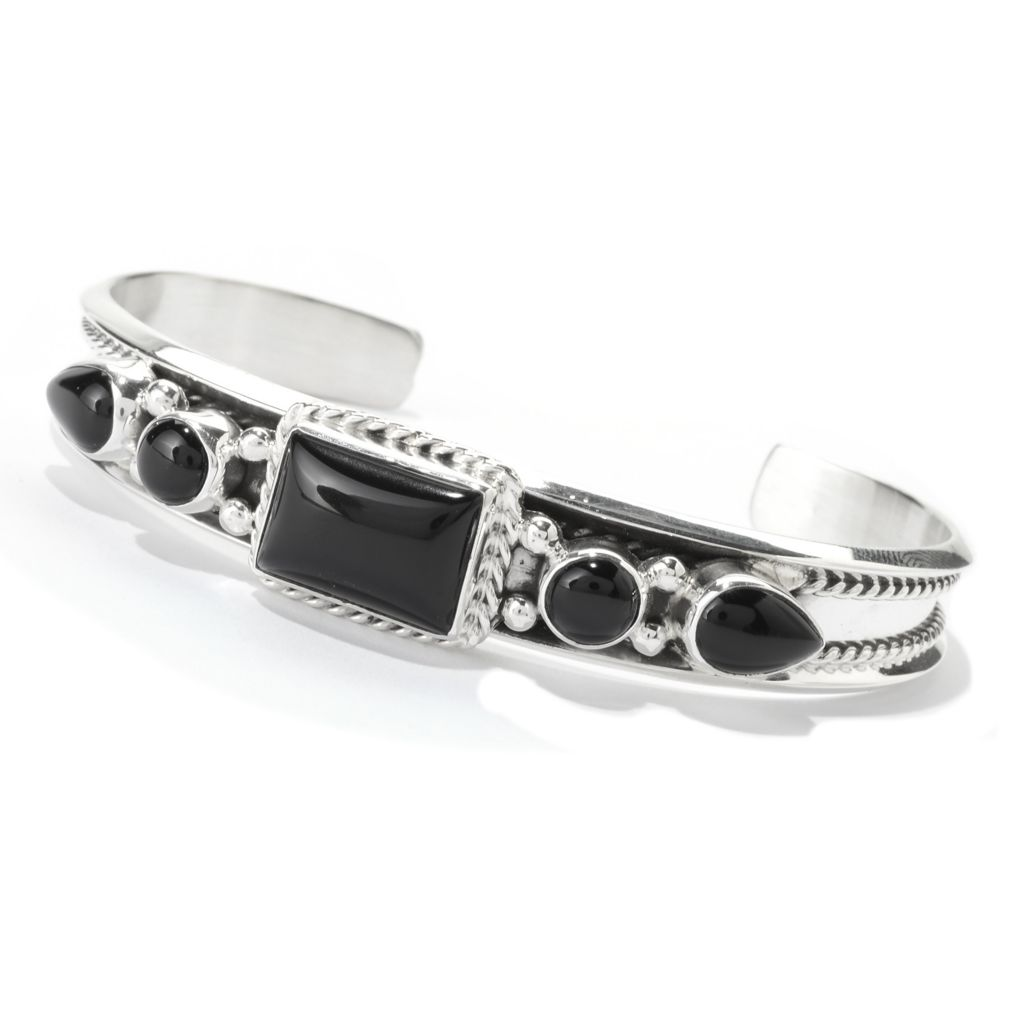 140-792 - Gem Insider Sterling Silver Multi Shape Black Agate Cuff Bracelet