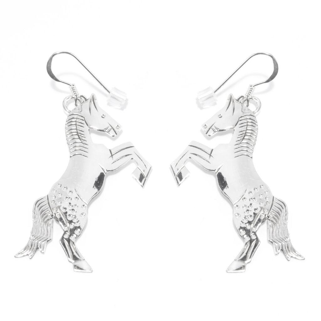 """140-801 - Gem Insider Sterling Silver 2"""" Motif Figure Dangle Earrings"""