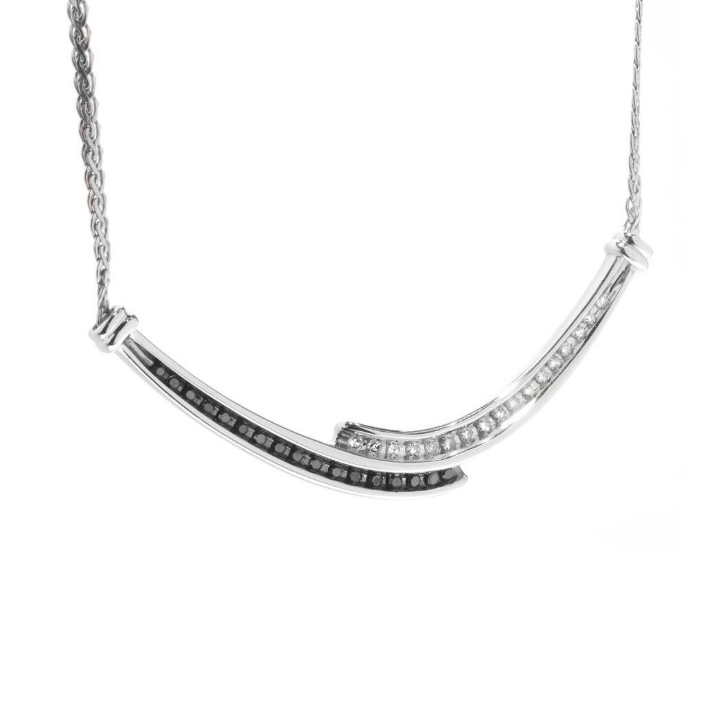 "140-802 - Diamond Treasures Sterling Silver 18"" 0.25ctw Black & White Diamond Curve Necklace"