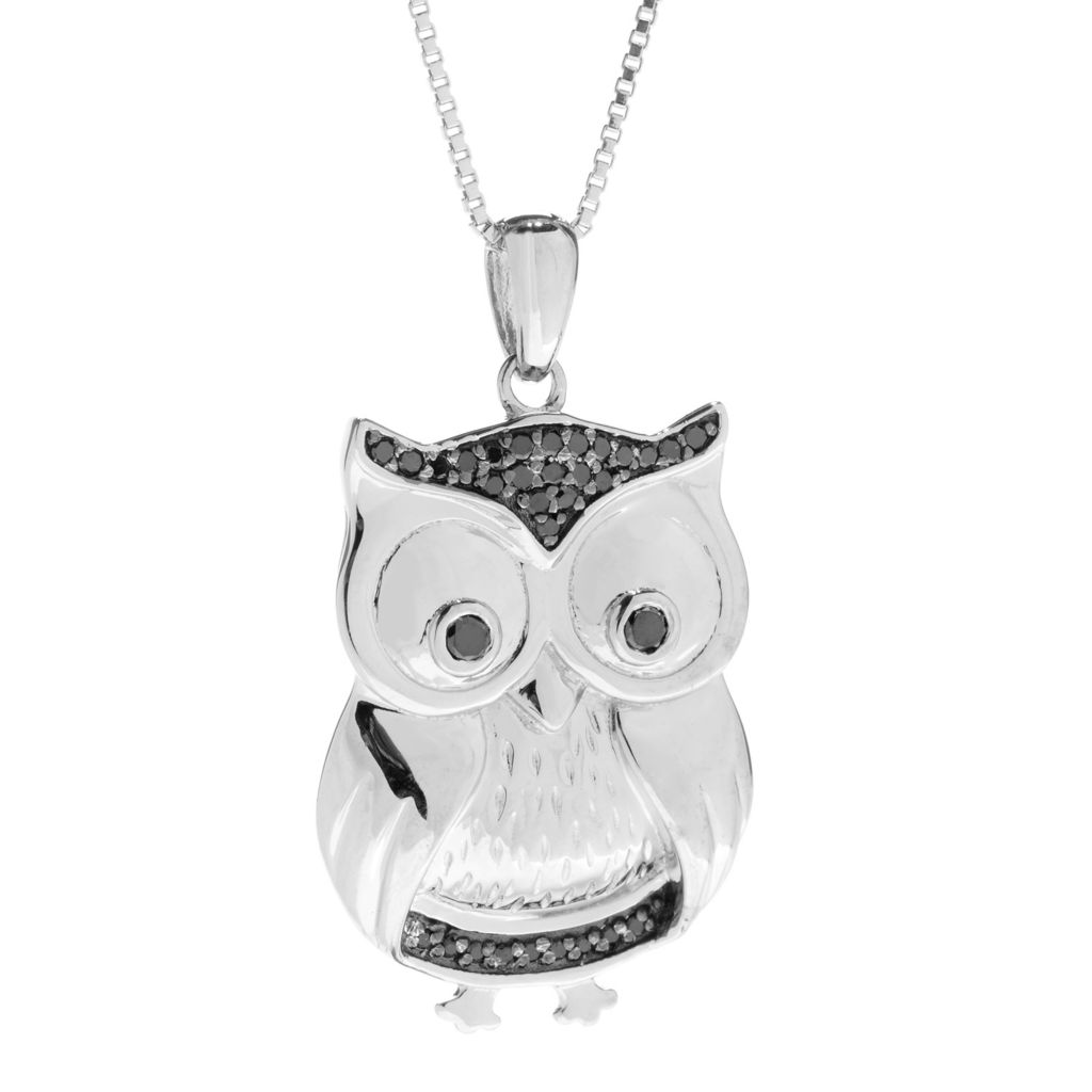 140-803 - Diamond Treasures Sterling Silver 0.11ctw Black Diamond Owl Pendant