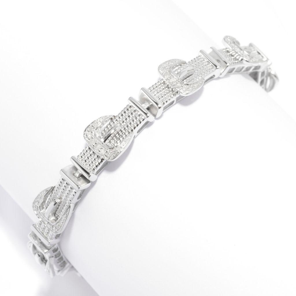 140-804 - Diamond Treasures Sterling Silver Pave Set Diamond Belt Buckle Link Bracelet