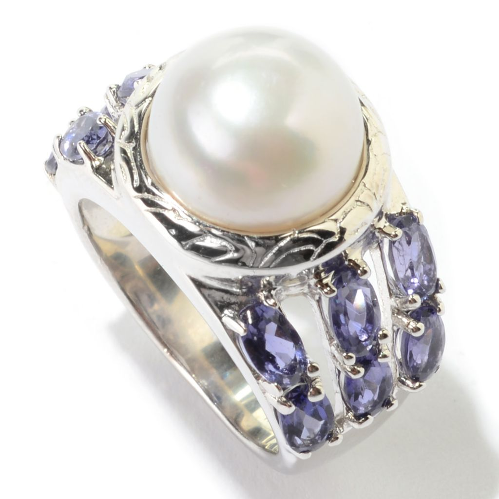 140-809 - Sterling Silver 11-11.5mm Freshwater Cultured Pearl & Iolite Ring