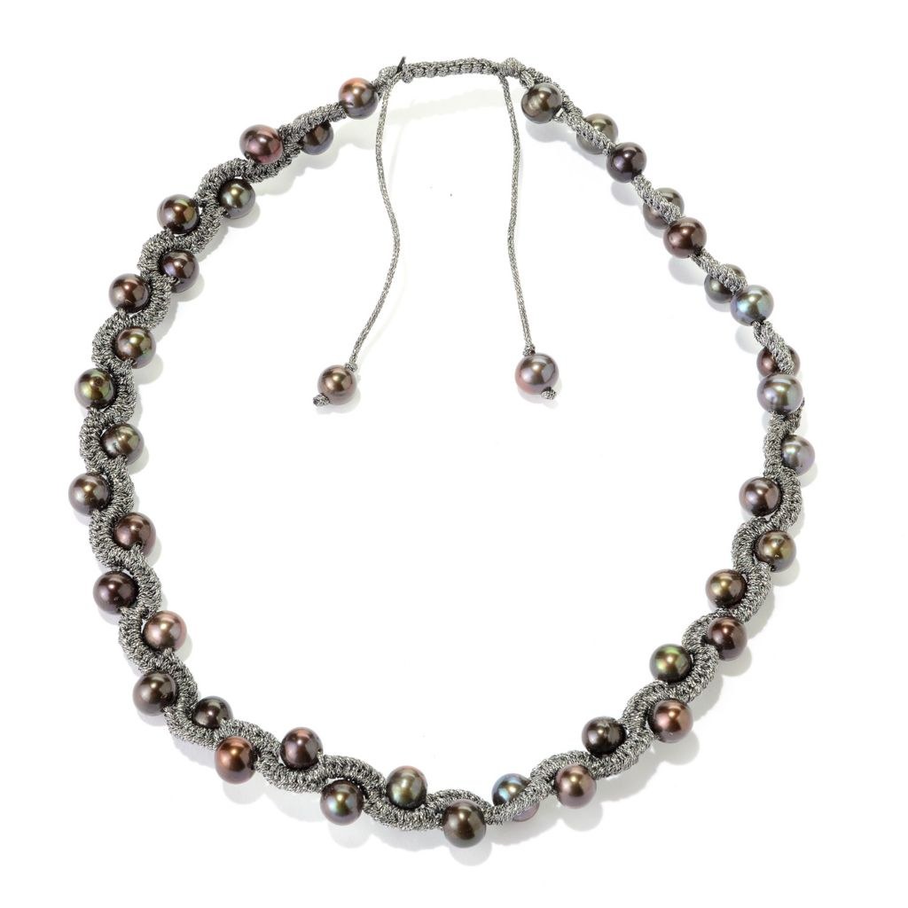 "140-810 - 17"" 8-9mm Freshwater Cultured Pearl Adjustable Woven Thread Necklace"