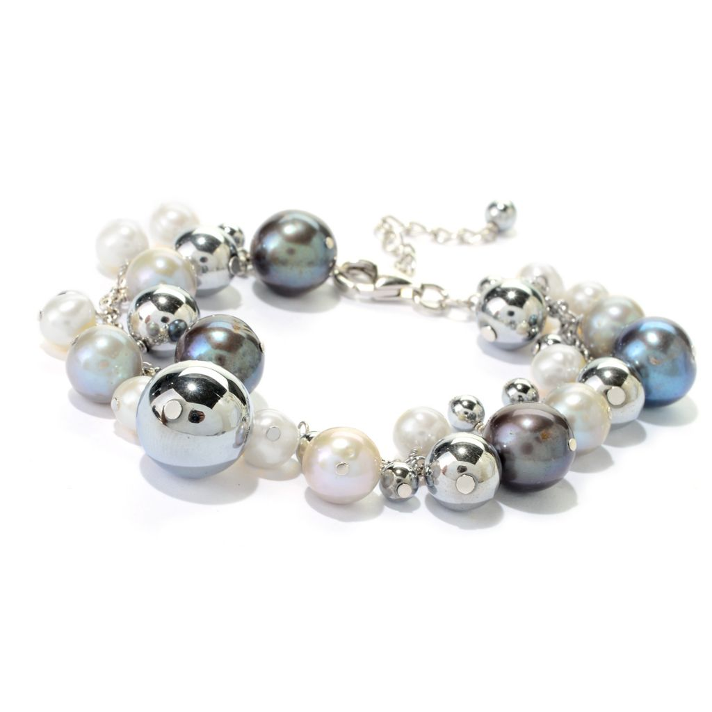"140-815 - Sterling Silver 7.75"" Multi Color Freshwater Cultured Pearl & Hematite Bracelet"