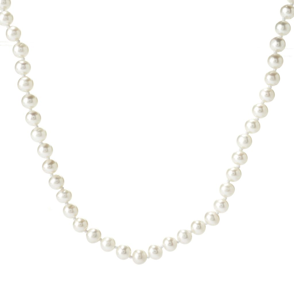 "140-820 - Sterling Silver 18"" 5-6mm Round Akoya Cultured Pearl Strand Necklace"