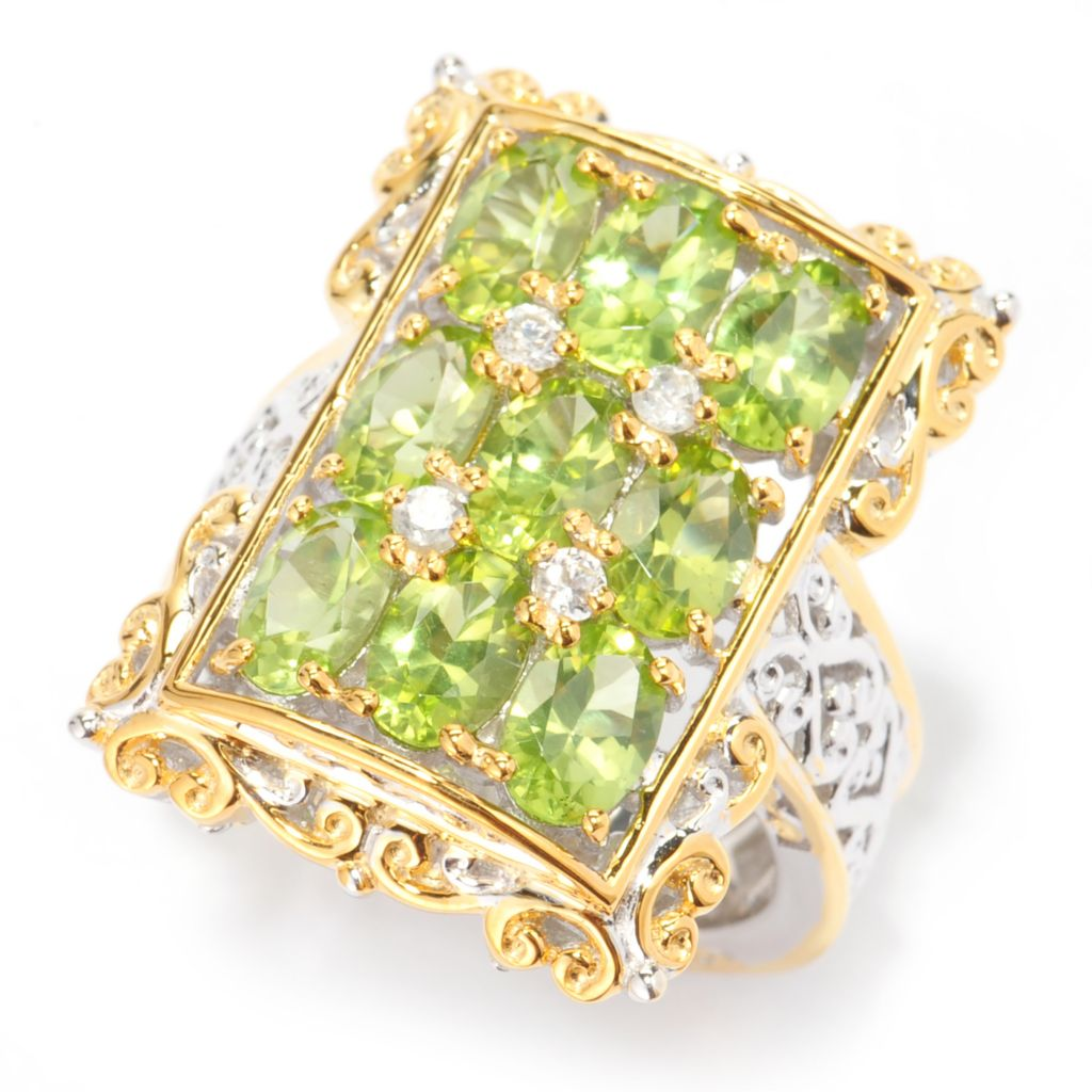 140-823 - Gems en Vogue 4.07ctw Oval Arizona Peridot & White Zircon Nine-Stone Ring